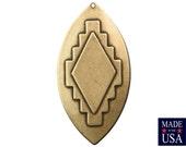 1 Hole Large Brass Ox Southwestern Drop / Pendant 65x33mm (2) mtl472B