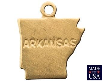 Raw Brass Tiny Arkansas State Charm Drops 12x10mm (6) chr201AD