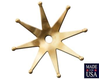 Raw Brass Retro Atomic Star Long Petal Bead Caps 25mm (8) mtl353