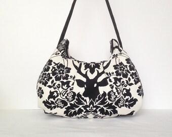 Pleated Bag // Shoulder Purse - Antler Damask in Black