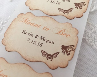 Meant to Bee Stickers Personalized Wedding Stickers Favor Seals Name and Date Set of 10