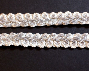 Ivory Gimp, Self Adhesive Ivory and Metallic Silver Gimp Braided Sewing Trim 1/2 inch wide x 3 yards, Self-Stick