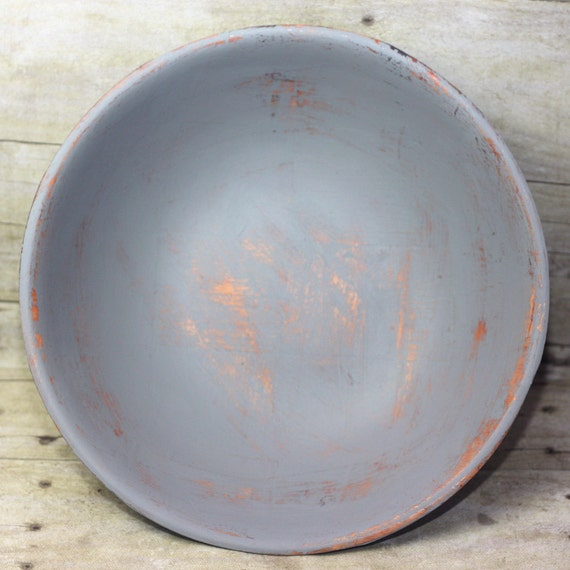 Large Wood Bowl Gray Painted Shabby Chic Distressed
