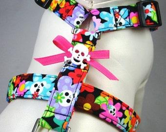 Dog Harness - Floral Skulls