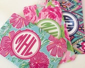Monogrammed Luggage tag, baggage tag, backpack tag, lilly inspired patterns, monogrammed luggage tags 9 pattern choices