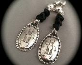 Petroglyph, Earrings, Bison Medicine Man, Recycled Silver, Eco-Friendly