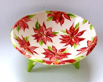Christmas Poinsettia ceramic Bowl Lime green w/ white polka-dots and hand-painted floral print inside