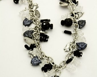 Cat Charm Necklace Found Object Snowflake Obsidian ( Free US Shipping)