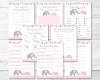 Pink Elephant Baby Shower Games Package / 8 Printable Games / Chevron Elephant / Baby Girl Shower / INSTANT DOWNLOAD A203