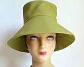 Women's Retro Sun Hat in Chartreuse Canvas - Summer Hat - READY TO SHIP via 3 Day Priority