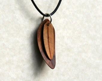 Handcarved Black Walnut and Ivorywood Wood Leaf / Feather Pendant  J150751