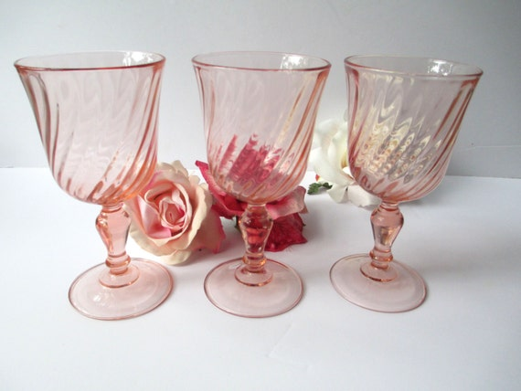 Vintage Acoroc Pretty Pink French Wine Glasses Set of Three