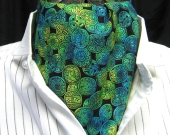 Steampunk Ascot Victorian Gothic gentlemans coin print blue green yellow on black cravat tie jabot one size plus size mens unisex