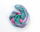 Hand dyed cotton perle 5 embroidery thread, 20 metre (22 yard) skein - dark green, pink, mauve, lavender, grey green, space dyed yarn