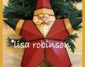 Christmas Barn Star Santa hand sculpted painted dimensional wall decor decoration winter primchick lisa robinson teamhaha ofg hafair