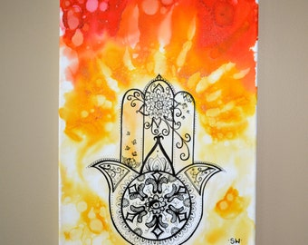 Sunshine Hamsa, Original Alcohol Ink Painting on stretched canvas