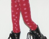 Maroon With Blush Dot Tights For Blythe...One Pair Per Listing