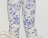 White Tights With Blue Flowers For Blythe...One Pair Per Listing...