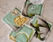 Coasters,Tropical Floral Bark Cloth Fabric, Set of 4, Drinking Glass Coasters, Green, Bananas