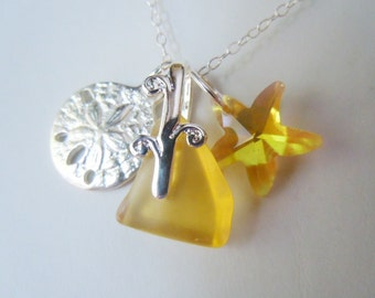 Sea Glass Necklace - Yellow Beach Glass Sand Dollar  Pendant  Necklace Seaglass Jewelry