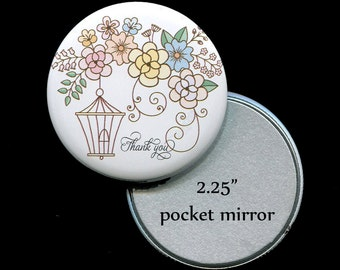 "Pocket Mirror Favors - Bridal Shower Favors - Mirror Favors - 2.25"" Pocket Mirror - Bird Cage with Pastel Flowers"