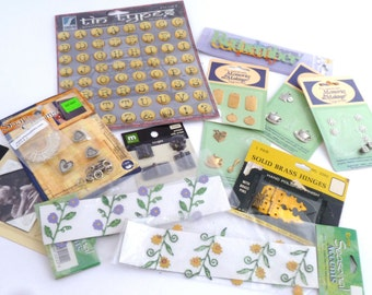 Scrapbooking supplies assortment - alphabet stickers, floral embellishments, metal charms, hinges, metal words, 13 piece assortment