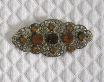 Czech Glass Filigree Brooch . Czech Glass Brooch . amber glass pin .  Victorian Filigree Brooch . silver filigree brooch
