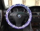 Purple And White Damask Steering Wheel Cover