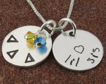 Delta Delta Delta Necklace, ΔΔΔ Sterling Silver or 14K Gold Filled Big Sis or Lil Sis Greek Letter Pendant/ΔΔΔ Jewelry/OLP