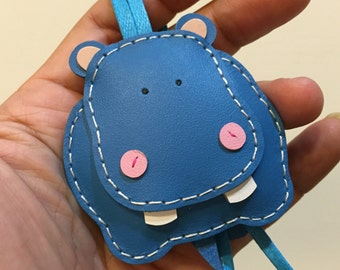 Small size - Hugo the Hippo cowhide leather charm ( Blue )
