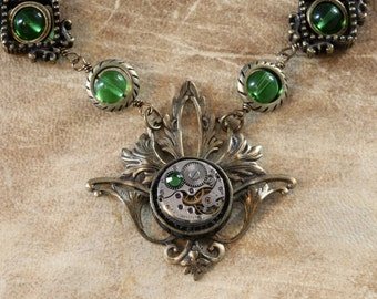 Steampunk Neo Victorian Jewellery - Necklace - Antique Watch Movement and fern green swarovski crystal