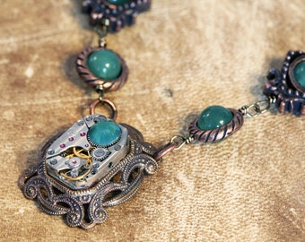 Steampunk Neo Victorian Jewellery - Necklace - Antique Watch Movement with aventurine and Palace Green Opal Swarovski crystal