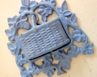 Vintage Aqua Blue Cast Iron Kitchen Basket Match Holder