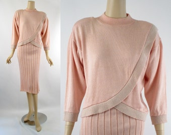 Vintage 1980s Pink Acrylic Knit Two Piece Skirt and Sweater by Ami B40