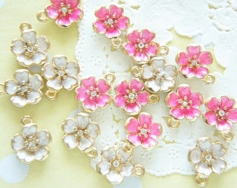 4 pcs Metal  Pearlized Sakura/ Cherry Blossom Charms (12mm) AZ139