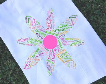 Personalized Flower Burp Cloth Monogrammed Baby Shower Gift
