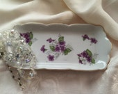 Violet Flower Porcelain Soap Trinket Jewelry Tray