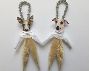 WHIPPET ornaments dog ORNAMENTS vintage style chenille ornaments set of 2