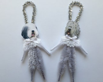 Old ENGLISH SHEEPDOG ornaments dog ORNAMENTS vintage style chenille ornaments set of 2