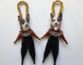 AUSTRALIAN CATTLE Dog ornaments dog ORNAMENTS vintage style chenille ornaments set of 2