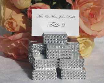 Wedding Place Card Holder - Silver Rhinestone Bling Place Card Holders (Set of 20)