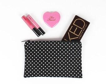 Black and White Polka Dot makeup bag