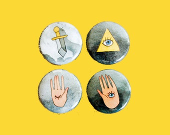 Evil Eye Swords Hands   1 Inch Pin 4 Pack