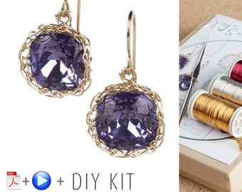 Earring Kit - Jewelry Making Kit - Earring Pattern - DIY Earring kit - Earrings Tutorials - Jewelry Tutorial kit - Swarovski earrings kit