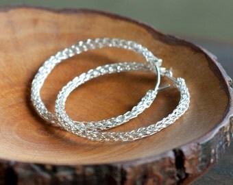 Large HOOP Earrings Sterling Silver  - Handmade Wire crochet Jewelry - Silver hoops - Gypsy bohemian fashion