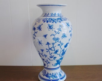 Vintage porcelain Asian blue and white vase