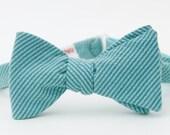 blue seersucker freestyle bow tie