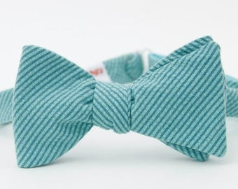 blue seersucker freestyle bow tie