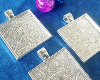 Bezels 20  1 inch Square Pendants Settings 25mm Trays Jewelry Supplies FAST SHIPPING