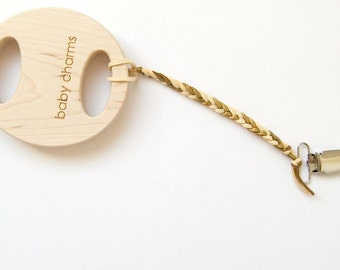 Maple Rattle and Clip, personalized wooden wooden baby toy modern gift